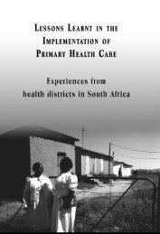 Lesson learnt in the implementation of PHC - Health Systems Trust