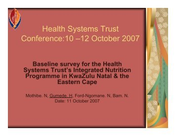 Health Systems Trust Conference:10 –12 October 2007
