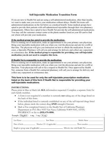 Self-Injectable Medication Transition Form - Health Net
