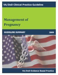 VA/DoD CLINICAL PRACTICE GUIDELINE FOR PREGNANCY ...