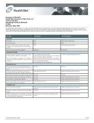 Summary of Benefits Health Net Insurance of New York, Inc. Charter ...