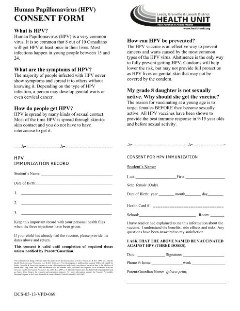 HPV Consent Form - Leeds, Grenville and Lanark District