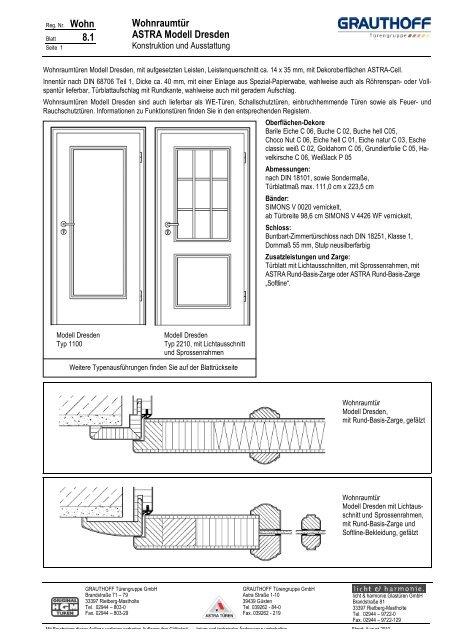 Relativ 8.1 Wohnraumtür ASTRA Modell Dresden - Grauthoff FJ77