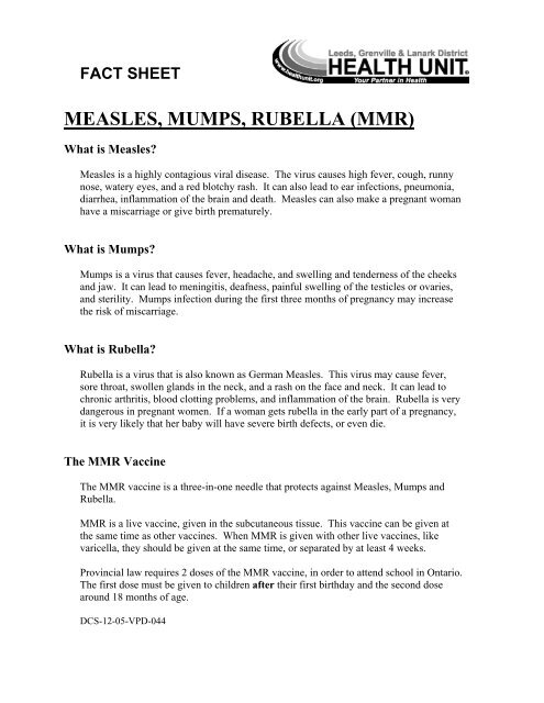MEASLES, MUMPS, RUBELLA (MMR)