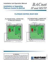 BACnet for Platinum Manual - Heat-Timer® Corporation