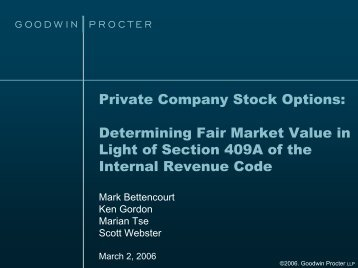 Private Company Stock Options: Determining Fair Market Value in ...