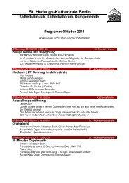 Monatsprogramm Oktober 2011 - St. Hedwigs-Kathedrale Berlin