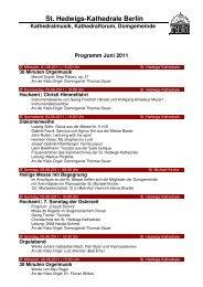 Monatsprogramm Juni 2011 - St. Hedwigs-Kathedrale Berlin