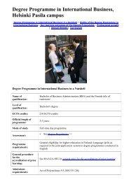 Degree Programme in International Business, Helsinki Pasila campus