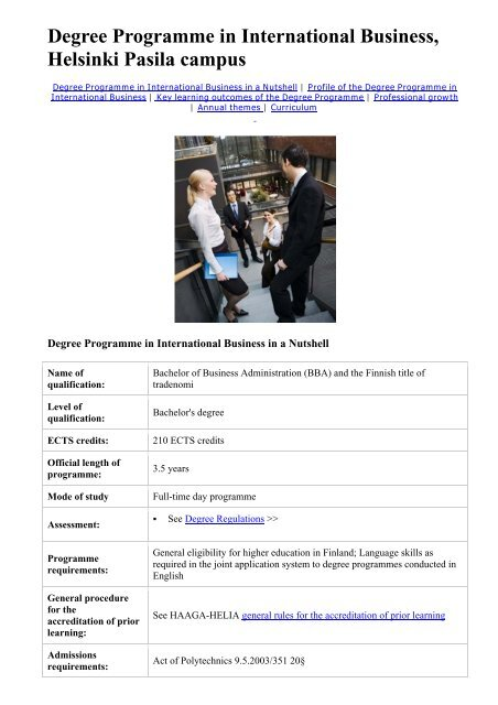 International Business Degree >> Degree Programme In International Business Helsinki Pasila