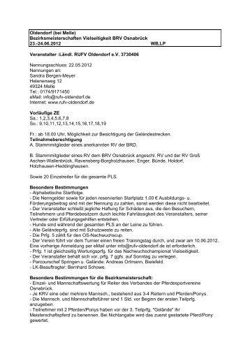 Ausschreibung - Turnier Service Hehemann