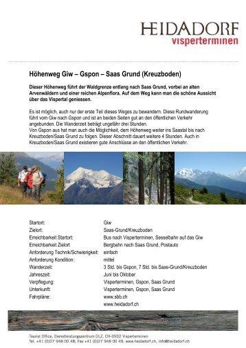 Höhenweg Giw – Gspon – Saas Grund (Kreuzboden)