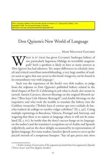 Don Quixote's New World of Language - H-Net