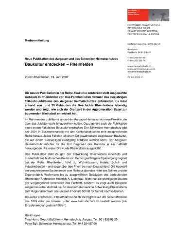 Baukultur entdecken – Rheinfelden - Schweizer Heimatschutz