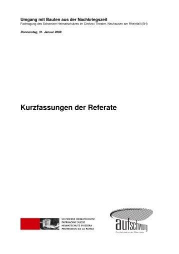 Kurzfassungen der Referate - Schweizer Heimatschutz