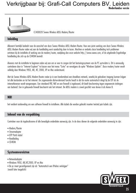 Sweex ADSL Modem/Router Annex A Drivers Download Free