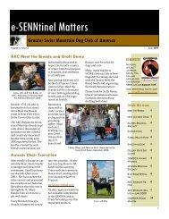 e-SENNtinel Matters - Greater Swiss Mountain Dog Club of America