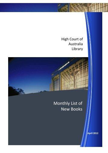 HCA New Books April 2012 - High Court of Australia