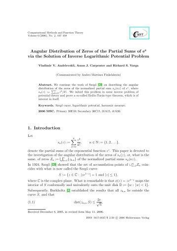 Angular Distribution of Zeros of the Partial Sums of ez via the ...