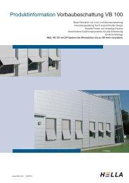 Produktinformation Vorbaubeschattung VB 100 - Hella Sonnen