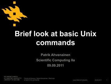 Brief look at basic Unix commands - Helsinki.fi