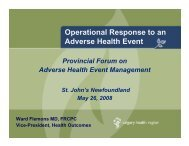 Operational Response to an Adverse Health Event: Short and Long ...