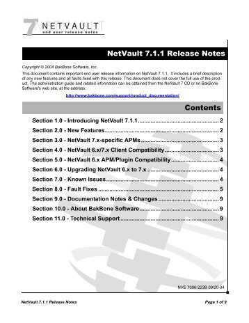 NetVault 7.1.1 Release Notes Contents