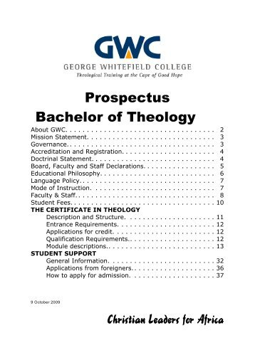 Prospectus Bachelor of Theology Christian Leaders for Africa