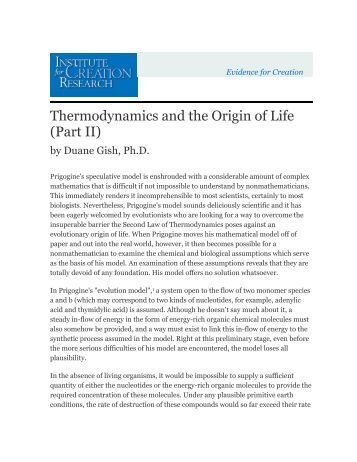 Thermodynamics and the Origin of Life (Part II) - Institute for Creation ...