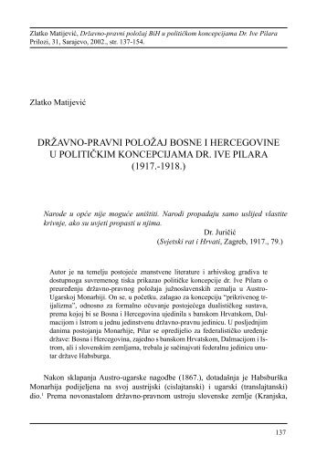 državno-pravni položaj bosne i hercegovine u ... - HercegBosna