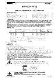 Tauchpumpen der Reihe TH360/645...650 - Brinkmann Pumps