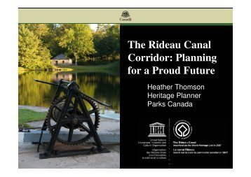 The Rideau Canal Corridor: Planning for a Proud Future