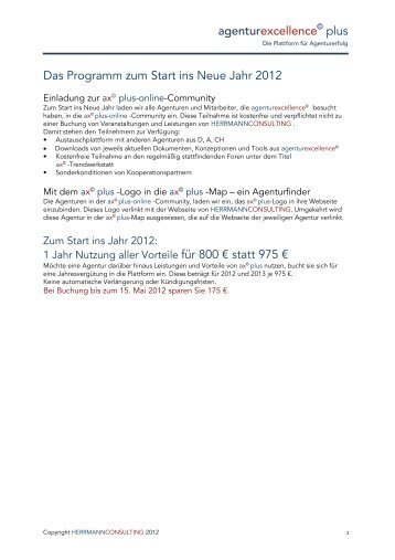 agenturexcellence plus Das Programm zum Start ins Neue Jahr 2012