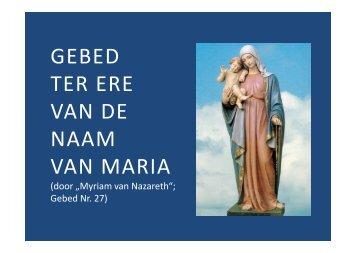 Gebed ter ere van de Naam Maria - Herzmariens.de