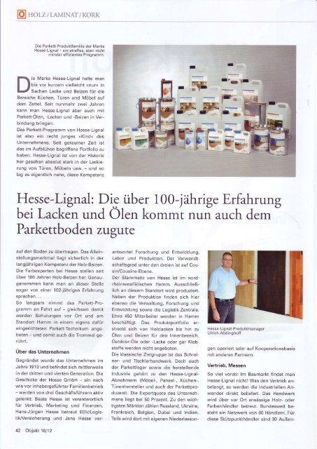 E Hesse-Lignal: Die über 100-jährige Erfahrung bei Lackä und ölen ...