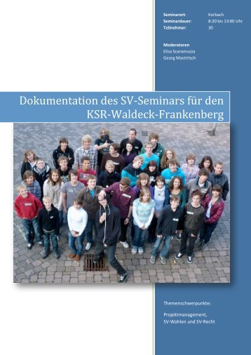 Dokumentation des SV-Seminars für den Kreisschülerrat Waldeck ...
