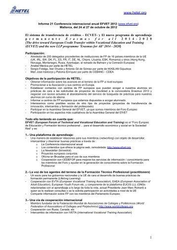 Informe Conferencia Anual EFVET 2012 - Hetel