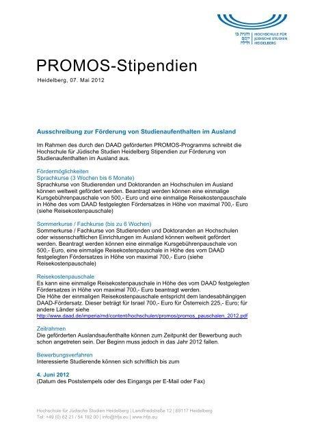 Promos Stipendien Hochschule Fa R Ja Dische Studien Heidelberg