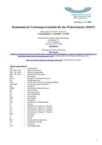 Kommentiertes Vorlesungsverzeichnis für das Wintersemester 2010 ...
