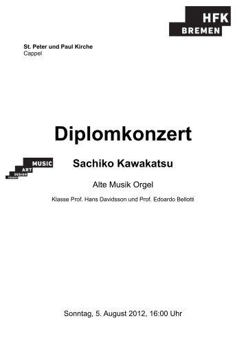 Diplomkonzert - Hochschule für Künste Bremen