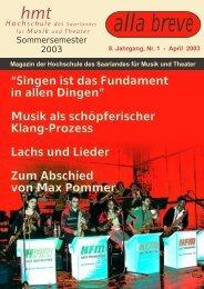 Sommersemester 2003 - Hochschule für Musik Saar - Saarland
