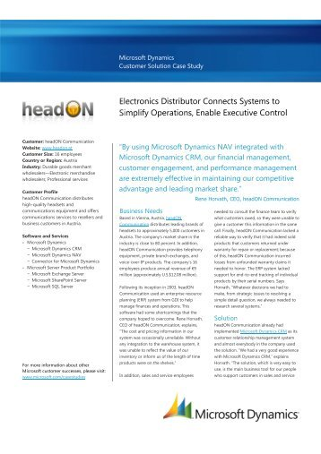 Electronics Distributor Connects Systems to Simplify ... - headON