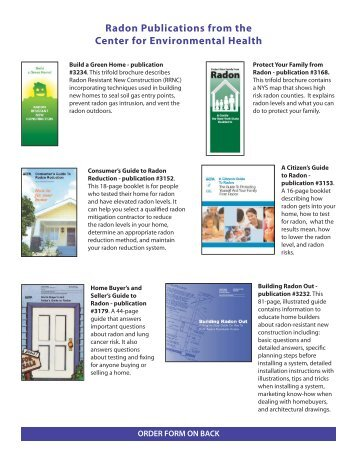 Radon Publications from the Center for Environmental Health