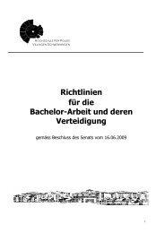 Richtlinie für die Bachelor-Arbeit und deren Verteidigung