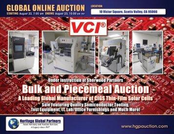 Bulk and Piecemeal Auction - Liquidation Auction - Equipment ...