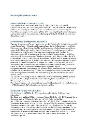 Nachträgliche Schuldzinsen Das Urteil des BFH vom 20.6.20102 ...