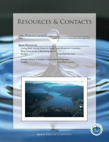 Lake Whatcom Resources and Contacts - City of Bellingham, WA