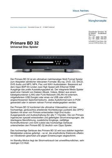 Primare BD 32 - Klaus Henkes Klangkonzepte