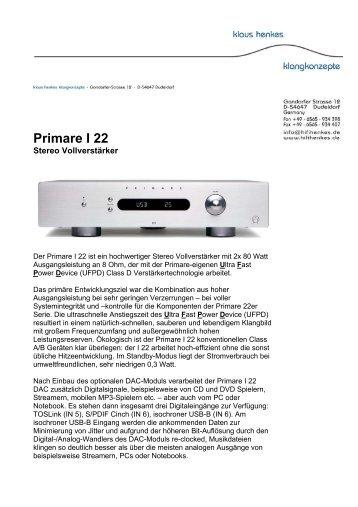 Primare I 22 - Klaus Henkes Klangkonzepte