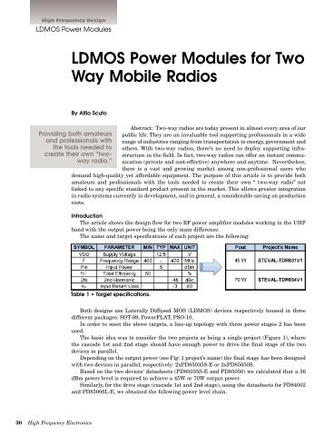 LDMOS Power Modules for Two Way Mobile Radios Education